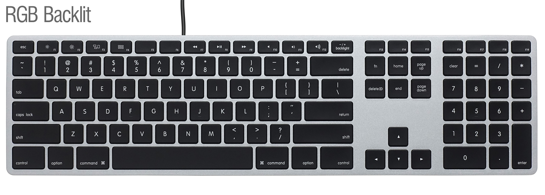 Matias RGB Backlit Wired Aluminum keyboard for Mac - Space Gray 英語配列