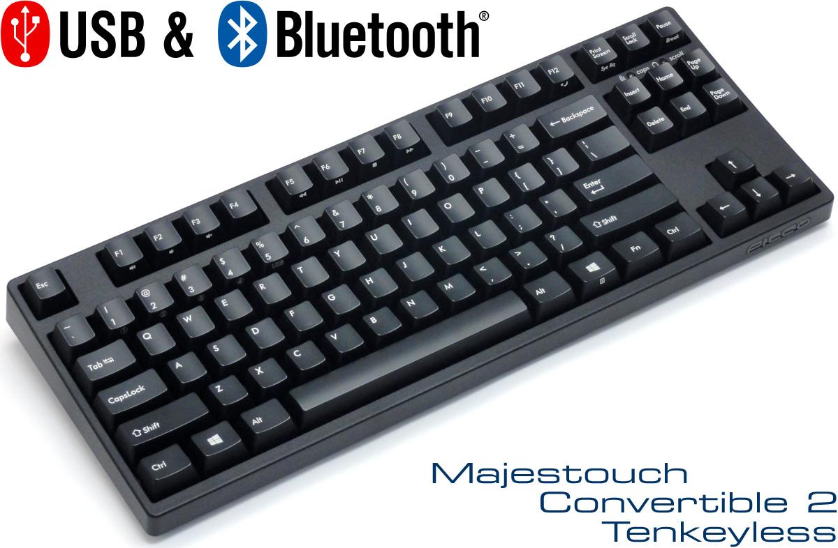 *【無線機械軸】Filco Majestouch FKBC87M Convertible 2 Cherry MX 87 Key BlueTooth Mechanical Keyboard (紅青茶黑正刻無線藍牙)