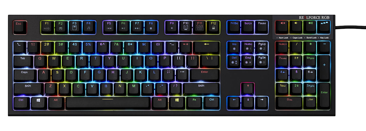 東プレ「REALFORCE RGB US」 英語108配列・ALL45g・黒