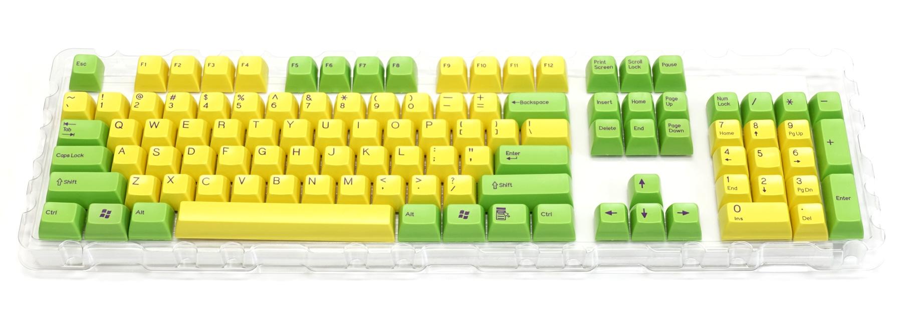 2色成型キーキャップ緑/黄