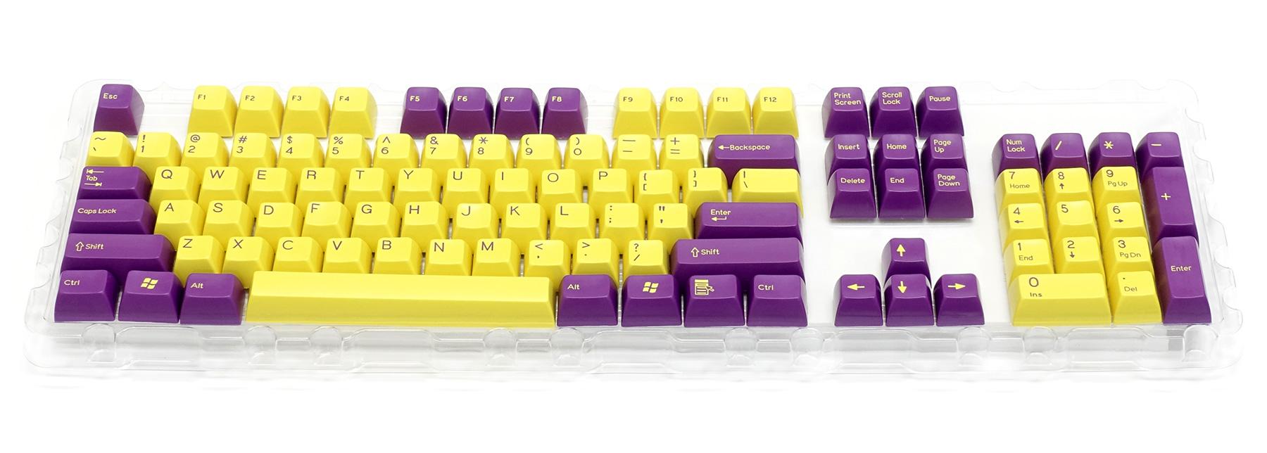 2色成型キーキャップ紫/黄